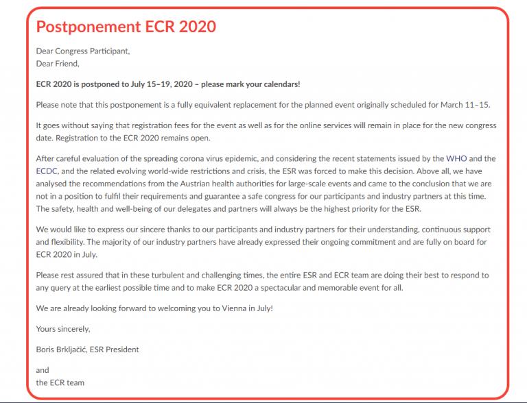 Перенос сроков ECR2020 ! На 15-19 июля 2020.