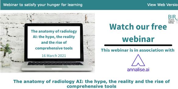 Вебинар от Британского Общества радиологов по искусственному интеллекту – 16 марта 2021