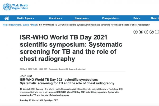 Онлайн симпозиум ВОЗ-ISR по использованию рентгенографии для скрининга туберкулеза 23 марта 2021г